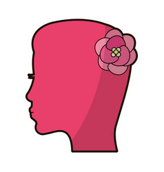 pink silhouette mother female flower vector image