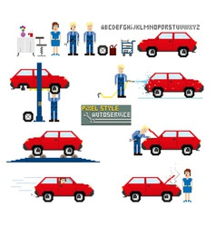 pixel art style auto service vector image