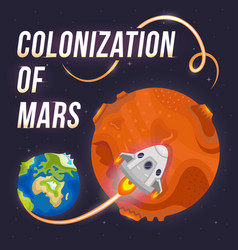 Poster of colonization of mars vector