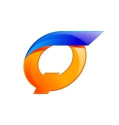 Q letter blue and Orange logo design Fast speed vector