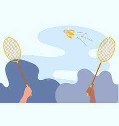 Rackets in hands players badminton vector