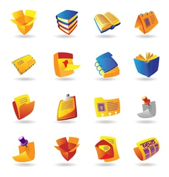 Realistic icons set for books and papers vector