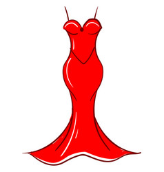 red woman dress on white background vector image