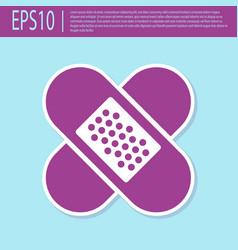 Retro purple crossed bandage plaster icon vector