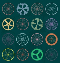 Retro Style Bike Wheel Silhouettes vector image