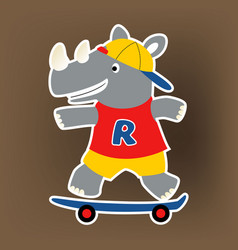 Rhino skateboarder cartoon vector