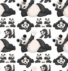Seamless background with cute panda vector