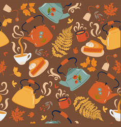 seamless pattern with teapots and cups vector image