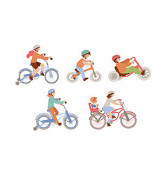 Set children riding bicycles different types vector