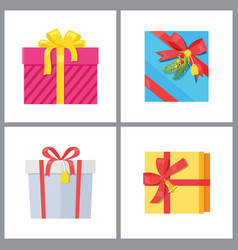 set gift boxes in decorative wrapping vector image