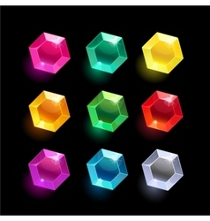 Set of cartoon hexagon different color crystal vector image