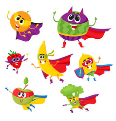 Set of fruit and berry hero superhero characters vector