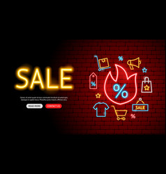 shopping sale neon banner design vector image