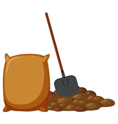 Spade and pile dirt vector