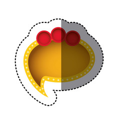 Sticker of yellow cloud speech with tail and red vector