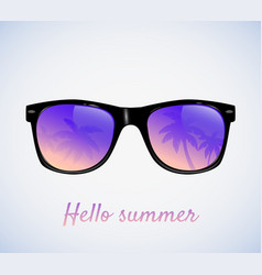 Sunglasses with palms reflection vector