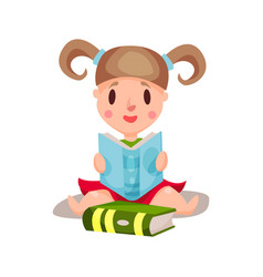 Sweet little girl sitting and reading a book vector