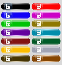 Tetris icon sign Set from fourteen multi-colored vector image