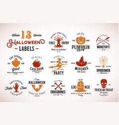 Thirteen spooky vintage halloween badges vector
