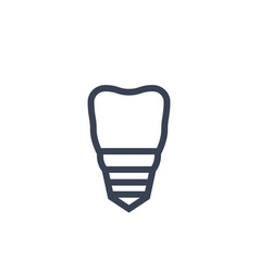 tooth dental implant icon on white vector image