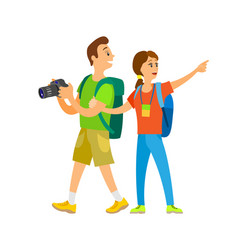 tourists walking around couple on vacation holiday vector image
