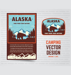 Usa poster and badge alaska with mountains bear vector