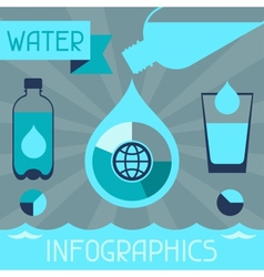 Water infographics in flat design style vector