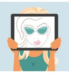 Woman holds tablet pc displaying fashion drawing vector