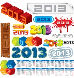 2013 logo collection and calendar vector image vector image