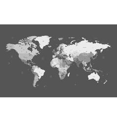 detailed worldmap gray background vector image vector image