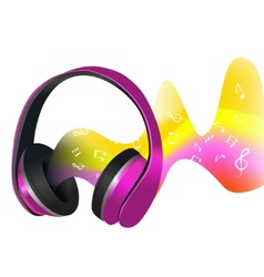 Headphones and soundwaves vector image