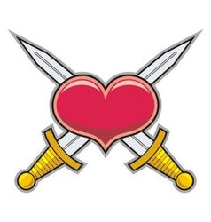 Heart and swords vector image vector image