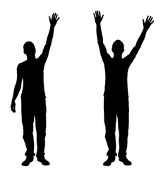 people with hands in the air vector image vector image