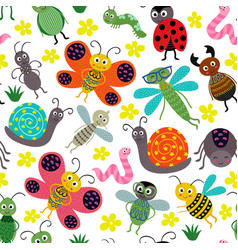 seamless pattern with insect vector image vector image