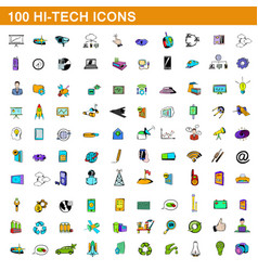 100 hi-tech icons set cartoon style vector image vector image