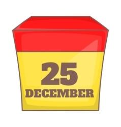 Calendar with christmas date icon cartoon style vector image