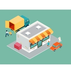 Shop and delivery isometric 3d top side view vector image vector image