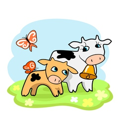 cute cartoon cows vector image