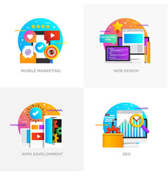 flat designed concepts - mobile marketing web vector image vector image
