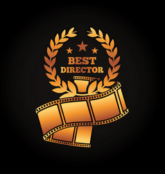 gold award best director laurel strip film movie vector image