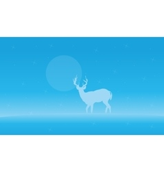Landscape deer with fog of silhouettes vector image vector image