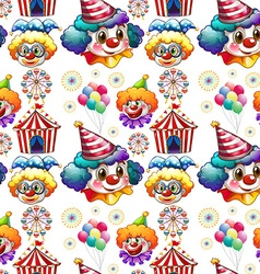 Seamless background with clowns and circus vector image vector image