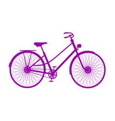 silhouette of retro bicycle in purple design vector image
