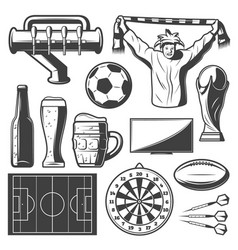 vintage sport bar elements collection vector image