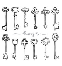 antique keys hand drawing vector image