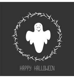 Funny ghost flying in the night sky Halloween vector image