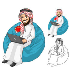 Middle Eastern Man Holding a Cup of Coffee vector image