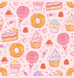 pastry and sweets pattern vector image