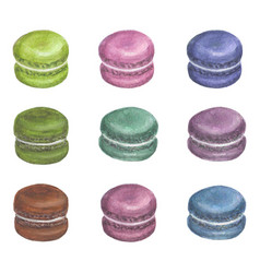 set of watercolor colorful macarons vector image