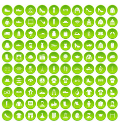 100 fashion icons set green circle vector